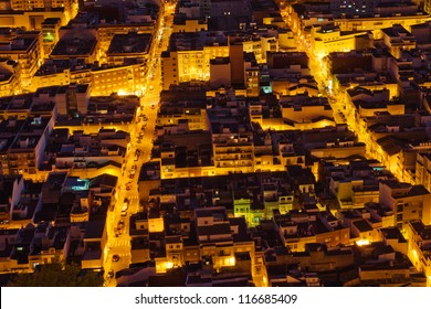 View from above to tightened streets of Cullera, Spain