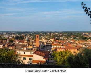 View from above from the town of Pietrasanta to the sea