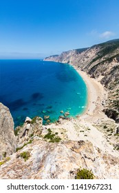 View from above to an untouchable beach of an island in Ionian sea
