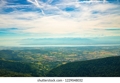 View from above of a valley in jura, France.