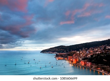 View from above to the Villefrance sur Mer in French Riviera.
