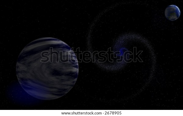 View of an abstract galaxy with two planets, one of them earth like and stars