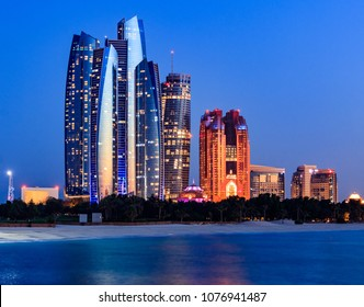 View of Abu Dhabi Skyline during Blue Hour. Abu Dhabi - UAE. 20 April 2018
