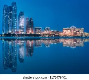 View of Abu Dhabi Skyline at evening time, United Arab Emirates