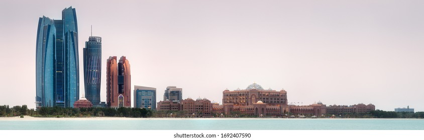 View of Abu Dhabi Skyline on a sunny day, United Arab Emirates