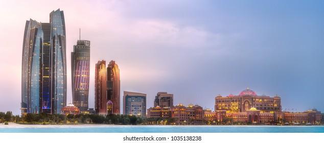 View of Abu Dhabi Skyline at sunrise, United Arab Emirates