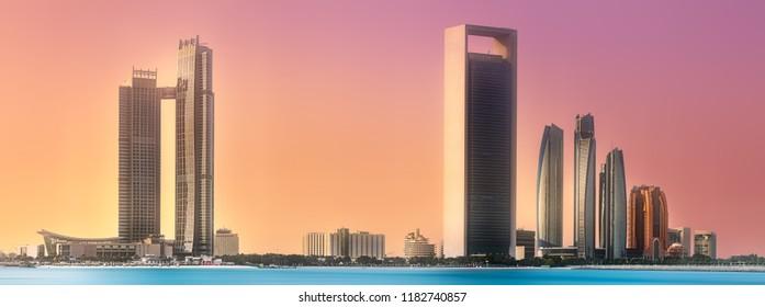 View of Abu Dhabi Skyline at sunrise, United Arab Emirates. Clipping path of sky