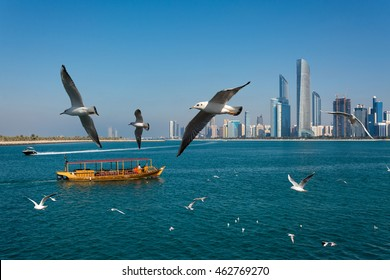view of Abudhabi corniche with skyscrapers. Abu dhabi - UAE 2016