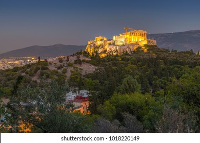 View of The Acropolis at dusk from Filopappou Hill, Athens, Greece, Europe 12 October 2017