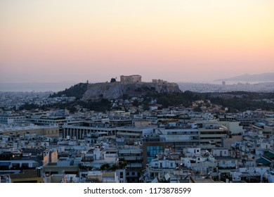 View of Acropolis hill in Athens, Greece on Sep. 1, 2018