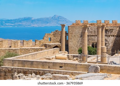 View of Acropolis in Lindos and Vliha bay. Rhodes Island, Dodecanese, Greece