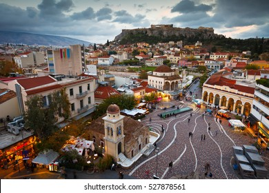 View of Acropolis from a roof-top coffee shop in Monastiraki square, Athens.