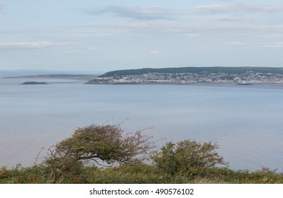 View Across the Bay of Weston super Mare to the Victorian Clevedon Pier from Brean Down, a Limestone Promontory on the Bristol Channel and part of the Mendip Hills on the Coast of Somerset,England,UK