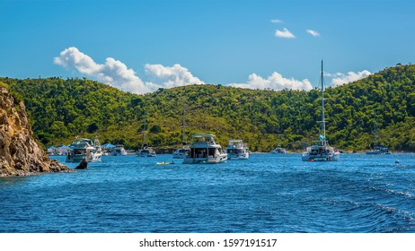 A view across the Bight bay on Norman island off the main island of Tortola