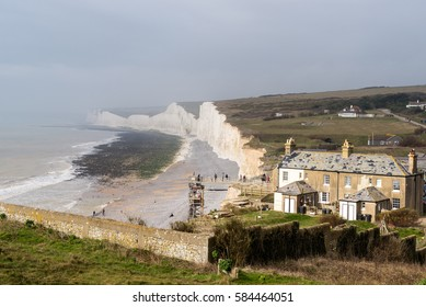 View across Birling Gap on a misty day. Birling Gap is one of the most photographed location in Sussex.