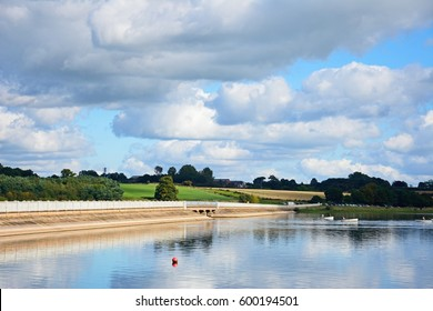 View across Blithfield reservoir with a road bridge to the left hand side, Blithbury, Staffordshire, England, UK.