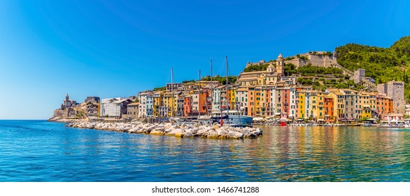 A view across the breakwater and harbour of Porto Venere, Italy in summertime