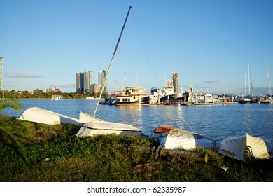 View across the Broadwater at Southport on the Gold Coast Australia in the early morning light.