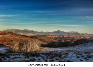 View across the Capital Reef Escalante national parks from Boulder mountain Utah.