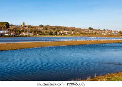 View across Copperhouse Pool Hayle Cornwall England UK Europe