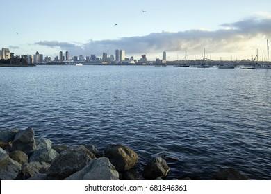 view across Coronado Bay as the early morning Southern California sun warms up San Diego