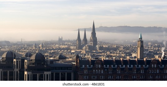 View across Edinburgh, Scotland with Princes Street