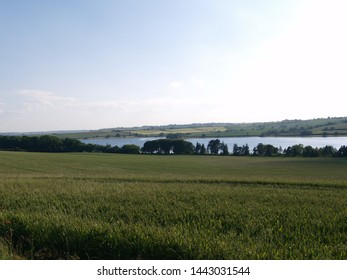 A view across the Eyebrook Reservoir, on the border of Leicestershire and Rutland in the East Midlands area of England