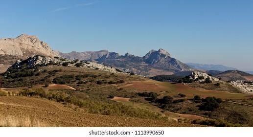 A view across farmland in the Sierra de las Cabras, Malaga, Andalucia, Spain.