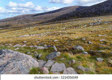 View across Fiacaill a Choire Chais to Ptarmigan building on ridge and Cairn Gorm sumit center right Cairngorm Mountains, Scotland