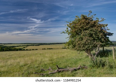 View across fields near Snowshill, England.