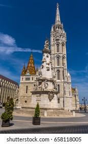 The view across the Fisherman's Bastion towards the Matthias Church in Budapest in summertime