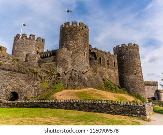 A view across the fortifications of Conwy Castle, Wales in summertime