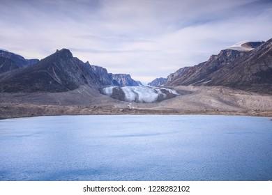 View across Glacier Lake at Highway Glacier, Akshayuk Pass, Nunavut