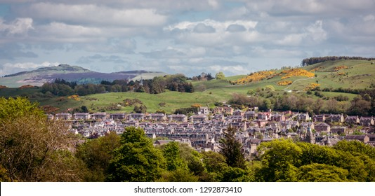 View across Hawick to Ruberslaw