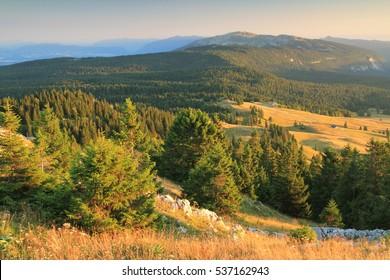 View across the Jura mountains at sunset, Western Switzerland