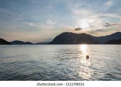 View across Lake Iseo from Sulzano