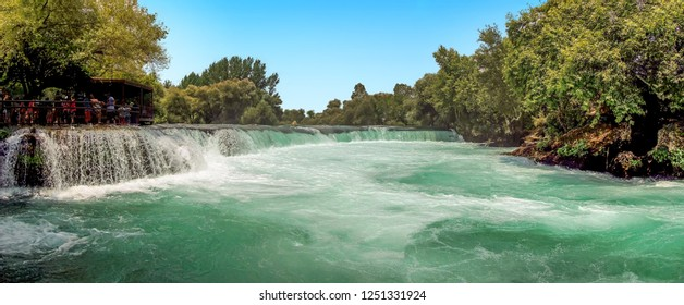 A view across the Manavgat falls on the Manavgat river near Side, Turkey in summertime