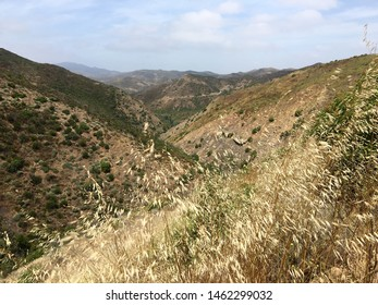 View across mountains at Point Magu State Park, near Westlake Village in Southern California