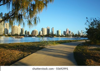 View across the Nerang River to Main Beach and Surfers Paradise on the Gold Coast Australia.