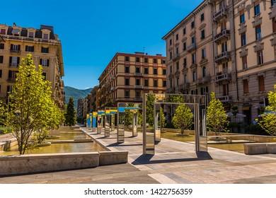 A view across the Piazza Giuseppe Verdi in La Spezia, Italy in summer