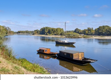 View across River Loire at Les Sablons , France, Traditional River Boats