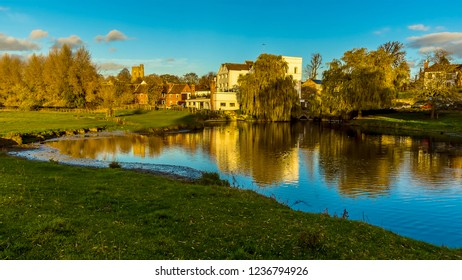 A view across the River Stour towards the western edge of Sudbury, Suffolk