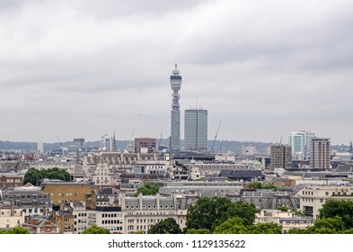 View across the roofs of Mayfair towards the landmark Post Office Tower in London.