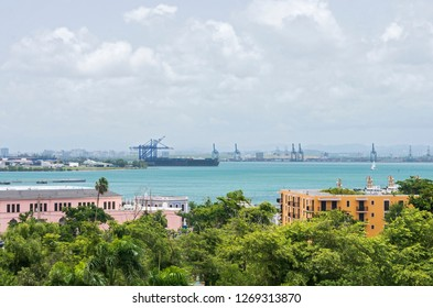 view across san juan bay and port terminals from old san juan puerto rico