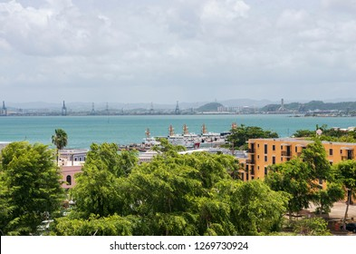 view across san juan bay and ships in san juan puerto rico