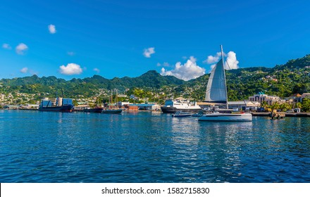 A view across the seafront of Kingstown, Saint Vincent in the early morning light