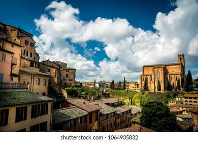 View across Siena on sunny day in Tuscany