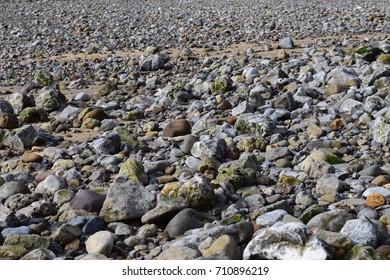 A view across a stony beach