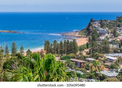 View across Sydney's Northern Suburb to Bilgola Beach, NSW, Australia. January 02, 2018.
