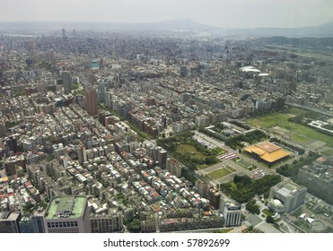 The view across Taipei, captial of Taiwan, from the top of Taipei 101, the second largest building in the world